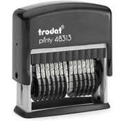 "Trodat 48313 Printy 13 Digit Self-Inking Custom Number Stamp. The character size is 1/8"". Personalize, preview and purchase rubber stamps online. Custom rubber stamps, self-inking stamps, date stamps and more. Quick turnaround."